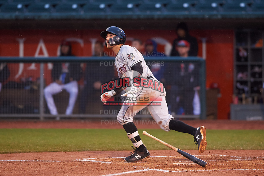 Wisconsin Timber Rattlers Connor McVey (6) hits a home run during a Midwest League game against the Lansing Lugnuts at Cooley Law School Stadium on May 2, 2019 in Lansing, Michigan. Lansing defeated Wisconsin 10-4. (Zachary Lucy/Four Seam Images)