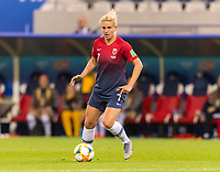 REIMS, FRANCE - JUNE 08: Elise Thorsnes #7 dribbles during a game between Norway and Nigeria at Stade Auguste-Delaune on June 8, 2019 in Reims, France.