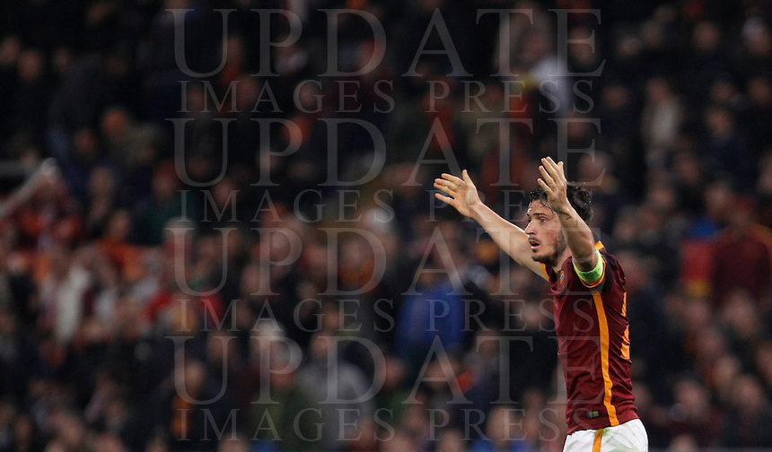 Calcio, andata degli ottavi di finale di Champions League: Roma vs Real Madrid. Roma, stadio Olimpico, 17 febbraio 2016.<br /> Roma's Alessandro Florenzi gestures during the first leg round of 16 Champions League football match between Roma and Real Madrid, at Rome's Olympic stadium, 17 February 2016.<br /> UPDATE IMAGES PRESS/Isabella Bonotto