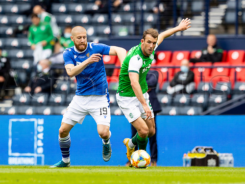 22nd May 2021; Hampden Park, Glasgow, Scotland; Scottish Cup Football Final, St Johnstone versus Hibernian; Christian Doidge of Hibernian gets away from Shaun Rooney of St Johnstone
