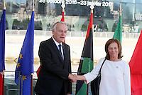 28 oct 2016, Marseille, France - Jean-Marc Ayrault, Ministre des Affaires EtrangËres et co-prÈsident de la 13Ëme rÈunion des Ministres des Affaires EtrangËres du 'Dialogue 5+5 sur la MÈditerranÈe occidentale'. Mme Margarida Marques, SecrÈtaire d'Ètat aux affaires europÈennes du Portugal. # JEAN-MARC AYRAULT RECOIT A MARSEILLE LES MINISTRES DES AFFAIRES ETRANGERES DES PAYS MEDITERRANEENS
