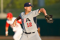 Starting pitcher Brad Lincoln #12 of Team USA in action versus Team Canada at the USA Baseball National Training Center, September 4, 2009 in Cary, North Carolina.  (Photo by Brian Westerholt / Four Seam Images)