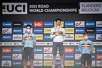 podium with:<br /> <br /> 1st place: Filippo Ganna (ITA/Ineos Grenadiers)<br /> 2nd place: Wout Van Aert (BEL/Jumbo Visma)<br /> 3th place: Remco Evenepoel (BEL/Deceuninck-Quick Step)<br /> <br /> <br /> 88th UCI Road World Championships 2021 – ITT (WC)<br /> Men's Elite Time trial from Knokke-Heist to Brugge (43.3km)<br /> <br /> ©Kramon