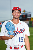 Spokane Indians pitcher Triston Polley (15) poses for a photo before a Northwest League game against the Hillsboro Hops at Avista Stadium on August 23, 2019 in Spokane, Washington. Hillsboro defeated Spokane 8-2. (Zachary Lucy/Four Seam Images)