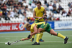 GER - Mannheim, Germany, May 25: During the U16 Boys match between Australia (yellow) and Belgium (red) during the international witsun tournament on May 25, 2015 at Mannheimer HC in Mannheim, Germany. Final score 4-3 (1-1). (Photo by Dirk Markgraf / www.265-images.com) *** Local caption *** Rhiley Carr #3 of Australia