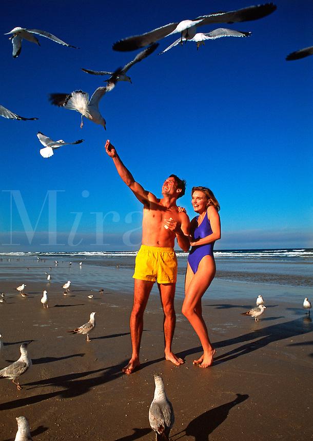 Couple on beach feeding seagulls
