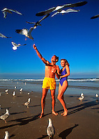 Couple on beach feeding seagulls
