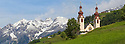 Church in the village of Fliess. Nordtirol, Austrian Alps. June. Digitally stitched panorma.