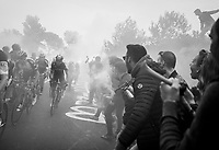 later winner Michal Kwiatkowski (POL/SKY) emerging from the smoke (bombs) up the Capo Berta (38 km's before the finish)<br /> <br /> 108th Milano - Sanremo 2017