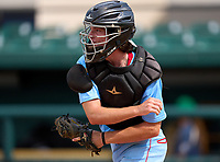 Seabreeze Sandcrabs catcher Canyon Brown (9) during practice before the 42nd Annual FACA All-Star Baseball Classic on June 5, 2021 at Joker Marchant Stadium in Lakeland, Florida.  (Mike Janes/Four Seam Images)