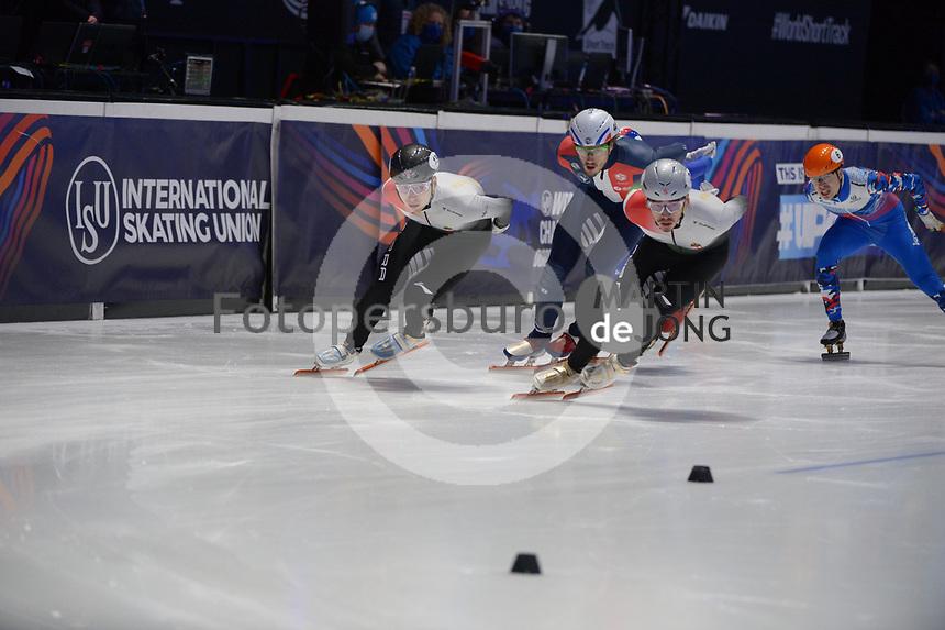 SPEEDSKATING: DORDRECHT: 07-03-2021, ISU World Short Track Speedskating Championships, Final A 1000m Men, Shaolin Sandor Liu (HUN), Shaoang Liu (HUN), ©photo Martin de Jong