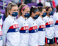 ORLANDO, FL - FEBRUARY 21: Sophia Smith #17 of the USWNT stands before player introductions during a game between Brazil and USWNT at Exploria Stadium on February 21, 2021 in Orlando, Florida.