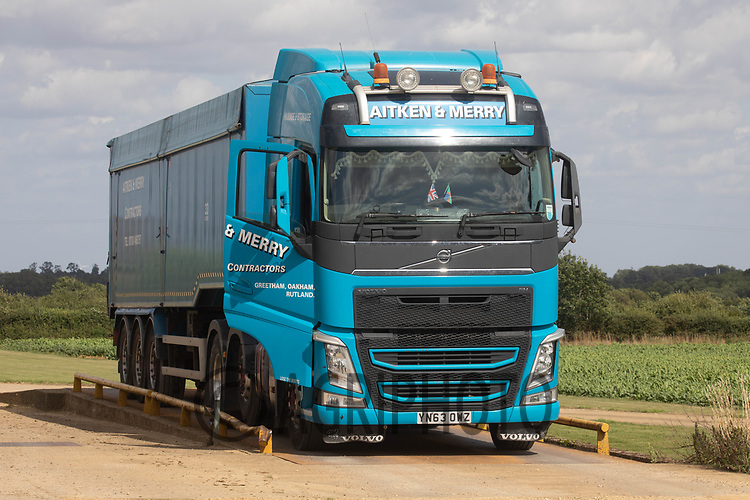 13-8-2021 Grain Lorry on a Farm weighbridge<br /> ©Tim Scrivener Photographer 07850 303986<br />      ....Covering Agriculture In The UK....