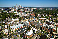Aerial photography of the Charlotte, North Carolina skyline. The skyline views of Bank of America Corporate Center, Duke Energy Center, Bank of America Stadium, Legacy Union and the Charlotte Knights Baseball Stadium. Charlotte Southend aerial photography.<br /> <br /> Charlotte Photographer - PatrickSchneiderPhoto.com