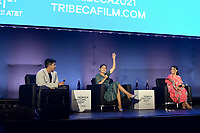 """New York CITY - JUNE 15: (l-r) Lane Factor, Paulina Alexis and Devery Jacobs attend the Tribeca Festival screening of FX's """"Reservation Dogs"""" on June 15, 2021 in New York City. (Photo by Anthony Behar/FX/PictureGroup)"""