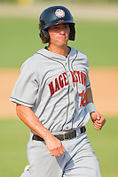 Rick Hague #18 of the Hagerstown Suns hustles towards third base against the Kannapolis Intimidators at Fieldcrest Cannon Stadium August 8, 2010, in Kannapolis, North Carolina.  Photo by Brian Westerholt / Four Seam Images