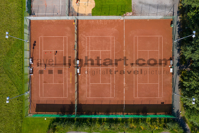 Drohnenaufnahme: Liechtenstein.<br /> Ruggell, Tennisanlage, Tennisplatz.<br /> Foto: ©Paul J. Trummer