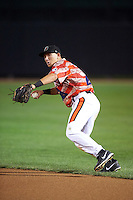 Aberdeen Ironbirds second baseman Drew Turbin (32) throws to first during a game against the Tri-City ValleyCats on August 6, 2015 at Ripken Stadium in Aberdeen, Maryland.  Tri-City defeated Aberdeen 5-0 in a combined no-hitter.  (Mike Janes/Four Seam Images)
