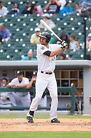 Jordan Danks (20) of the Charlotte Knights at bat against the Pawtucket Red Sox at BB&T Ballpark on August 8, 2014 in Charlotte, North Carolina.  The Red Sox defeated the Knights  11-8.  (Brian Westerholt/Four Seam Images)