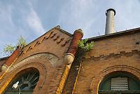 "Low-angle view of an old abandoned ""municipal light plant"", Columbus, Ohio, USA"