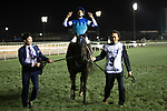 DUBAI,UNITED ARAB EMIRATES-MARCH 25: Vivlos,ridden by Joao Moreira, after winning the Dubai Turf at Meydan Racecourse on March 25,2017 in Dubai,United Arab Emirates (Photo by Kaz Ishida/Eclipse Sportswire/Getty Images)