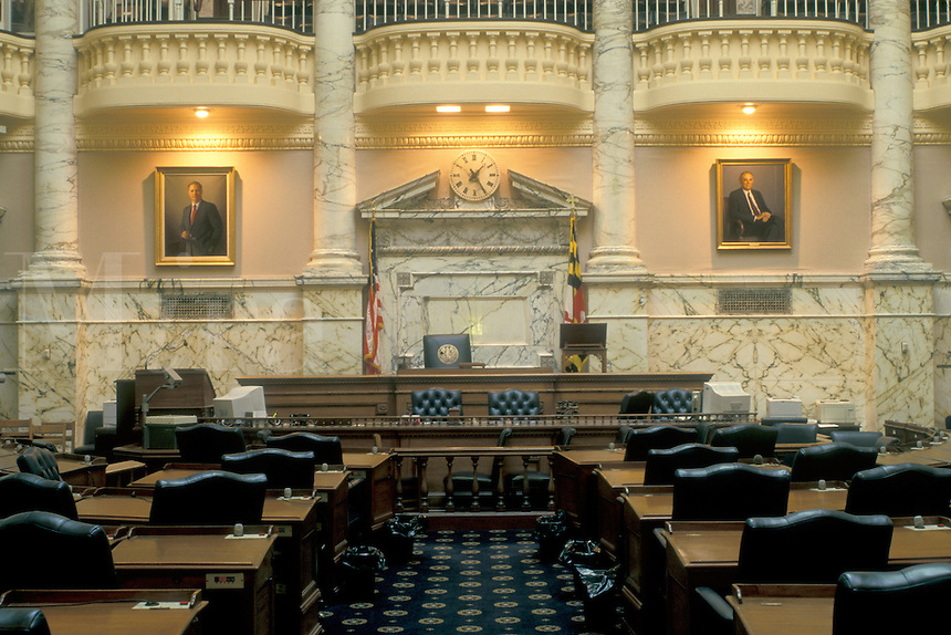 State House, Maryland, State Capitol, Annapolis, MD, The House of Delegates inside the Maryland State House in the capital city of Annapolis.