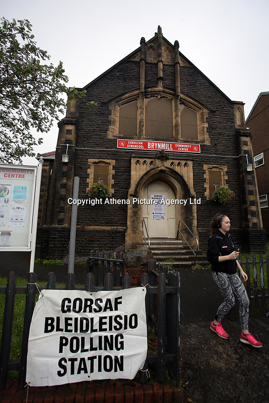 Pictured: A young woman exits the polling station in Brynmill Community Centre in Swansea, south Wales, UK. Thursday 08 June 2017<br />Re: General Elections 2017