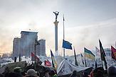 Maidan am Morgen, Protestcamp auf dem Maidan bei eisigen Temperaturen 25.01.2014 / Protestcamp at the Majdan,  very low temperature 25.01.2014