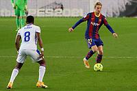 29th December 2020; Camp Nou, Barcelona, Catalonia, Spain; La Liga Football, Barcelona versus Eibar;  Frenkie de Jong FC Barcelona breaks towards Diop SD Eibar midfielder