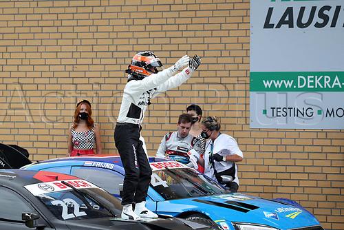 23rd August 2020, Lausitz Circuit, Klettwitz, Brandenburg, Germany. The Deutsche Tourenwagen Masters (DTM) race at Lausitz;  Lucas Auer AUT BMW Team RMR celebrates his victory in the DTM race at the Lausitzring