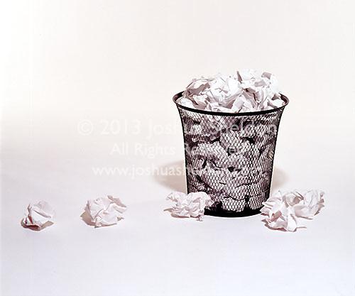 Wastepaper basket and paper<br />