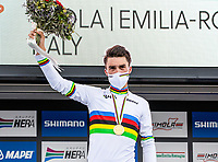 Picture by Alex Whitehead/SWpix.com - 27/09/2020 - Cycling - UCI 2020 Road World Championships IMOLA - EMILIA-ROMAGNA ITALY - Men Elite Road Race - Julian Alaphilippe of France on the podium after winning the Men's Elite Road Race. - SANTINI