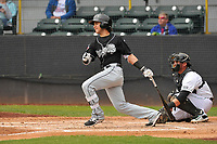 Lansing Lugnuts designated hitter Bo Bichette (10) swings during a game against the Clinton LumberKings at Ashford University Field on May 9, 2017 in Clinton, Iowa.  The Lugnuts won 11-6.  (Dennis Hubbard/Four Seam Images)