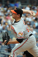 Baltimore Orioles pitcher Willie Eyre #50 during game against the New York Yankees at Yankee Stadium on September 5, 2011 in Bronx, NY.  Yankees defeated Orioles 11-10.  Tomasso DeRosa/Four Seam Images