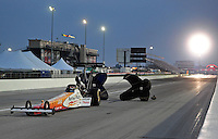 Sept. 3, 2011; Claremont, IN, USA: NHRA top fuel dragster driver Clay Millican during qualifying for the US Nationals at Lucas Oil Raceway. Mandatory Credit: Mark J. Rebilas-
