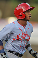 Hagerstown Suns designated hitter Khayyan Norfork #6 runs to first during a game against the Asheville Tourists at McCormick Field on May 28, 2013 in Asheville, North Carolina. The Tourists won the game 9-4. (Tony Farlow/Four Seam Images)