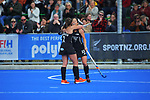 NZ's Olivia Shannon congratulates Julia King on her goal during the Sentinel Homes Trans Tasman Series hockey match between the New Zealand Black Sticks Women and the Australian Hockeyroos at Massey University Hockey Turf in Palmerston North, New Zealand on Sunday, 30 May 2021. Photo: Dave Lintott / lintottphoto.co.nz