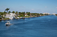 Ft. Lauderdale, Florida.  Intracoastal Waterway Looking North from East Oakland Park Blvd. Bridge.  East Commercial Boulevard Bridge in the Distance.