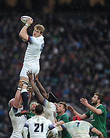 Joe Launchbury of England wins the lineout during the NatWest 6 Nations match between England and Ireland at Twickenham Stadium on Saturday 17th March 2018 (Photo by Rob Munro/Stewart Communications)