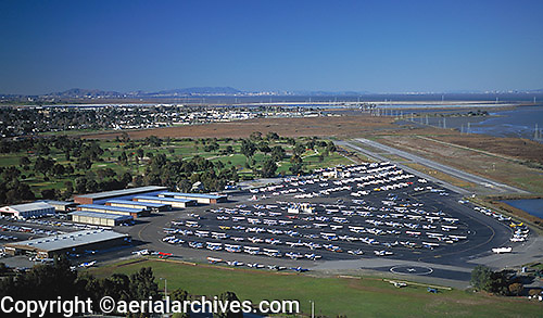 aerial photograph Palo Alto airport Santa Clara county, California with San Francisco skyline and Marin Headlands visible in background