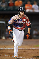 Aberdeen Ironbirds first baseman Steve Laurino (56) runs to first during a game against the Tri-City ValleyCats on August 6, 2015 at Ripken Stadium in Aberdeen, Maryland.  Tri-City defeated Aberdeen 5-0 in a combined no-hitter.  (Mike Janes/Four Seam Images)