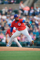 Buffalo Bisons starting pitcher Luis Santos (31) delivers a pitch during a game against the Rochester Red Wings on August 25, 2017 at Frontier Field in Rochester, New York.  Buffalo defeated Rochester 2-1 in eleven innings.  (Mike Janes/Four Seam Images)