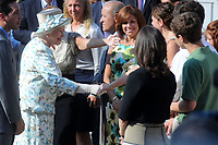 NEW YORK - JULY 06:  Queen Elizabeth II is greeted by New York Governor David Patterson as she arrives at the World Trade Center site to pay tribute to the victims of the 9/11 attacks during a visit to Ground Zero.  on July 6, 2010<br /> <br /> People:  Queen Elizabeth II