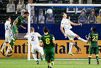 CARSON, CA - OCTOBER 07: Jeremy Ebobisse #17 of the Portland Timbers heads a ball during a game between Portland Timbers and Los Angeles Galaxy at Dignity Heath Sports Park on October 07, 2020 in Carson, California.