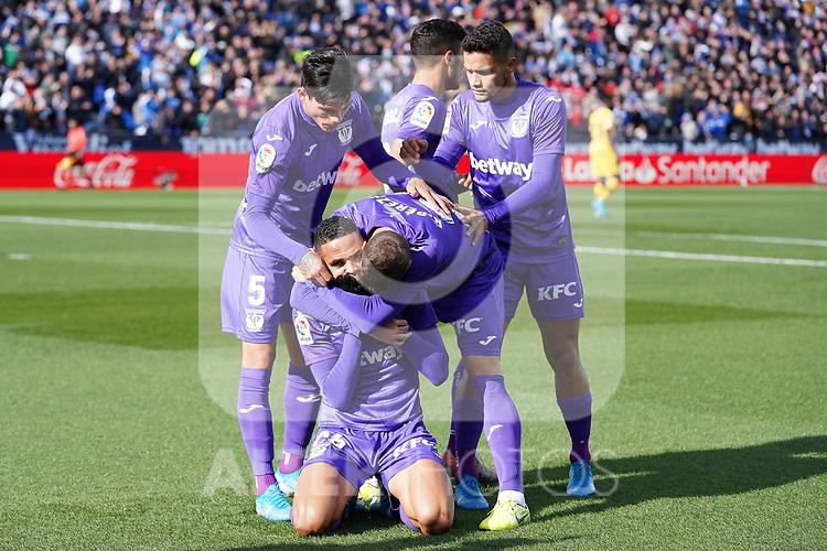 CD Leganes' Jonathan Silva, Oscar Rodriguez Arnaiz, Roberto Rosales, Youssef En-Nesyri and Ruben Perez celebrate goal during La Liga match. November 23,2019. (ALTERPHOTOS/Acero)
