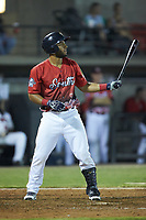 Andretty Cordero (8) of the Down East Wood Ducks at bat during the 2018 Carolina League All-Star Classic at Five County Stadium on June 19, 2018 in Zebulon, North Carolina. The South All-Stars defeated the North All-Stars 7-6.  (Brian Westerholt/Four Seam Images)