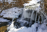 Visitors watch a waterfall, Thursday, February 18, 2021 at Tanyard Creek in Bella Vista. Check out nwaonline.com/210219Daily/ for today's photo gallery. <br /> (NWA Democrat-Gazette/Charlie Kaijo)