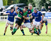 Saturday 10th October 2020 | Ballynahinch vs Queens<br /> <br /> Harry McCormick is tackled by David Whitten during the Energia Community Series clash between Ballynahinch and Queens at Ballymacarn Park, Ballynahinch, County Down, Northern Ireland. Photo by John Dickson / Dicksondigital