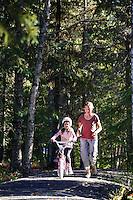 Family recreating at Trail Lake Campground, Kenai Peninsula, Chugach National Forest, Alaska.