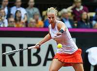 Arena Loire,  Trélazé,  France, 16 April, 2016, Semifinal FedCup, France-Netherlands, Second match: Kristina Mldanovic vs Richel Hogenkamp (NED), Pixtured : Richel Hogenkamp<br />